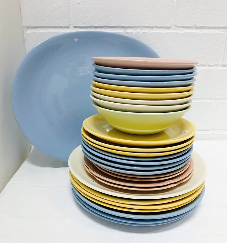 Johnston Ware sets. Plates, bowls, teacups, saucers, coffee cups, everyday, plain and patterned, blue, pink, yellow, green, white, cream