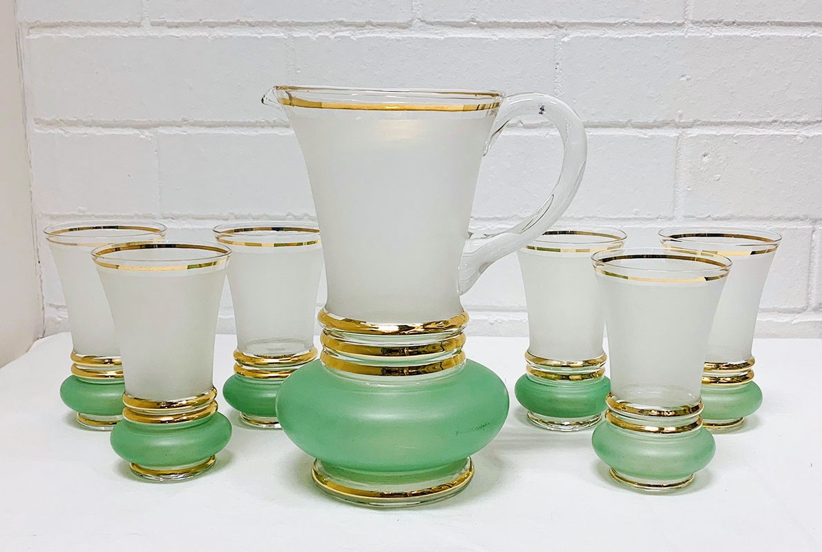 Glass Water set. Japanese, gold trim, frosted, green, clear, jugs, glasses