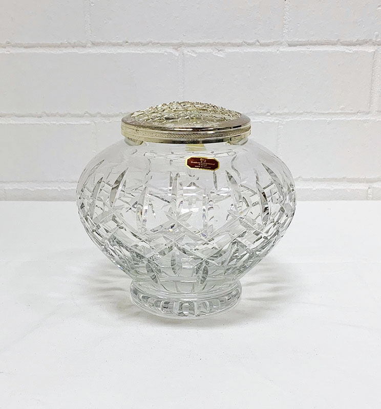 Crystal rose bowl. Also lead crystal, glasses, vases, bowls, jugs from Stuart, Waterford, Bohemian and others.