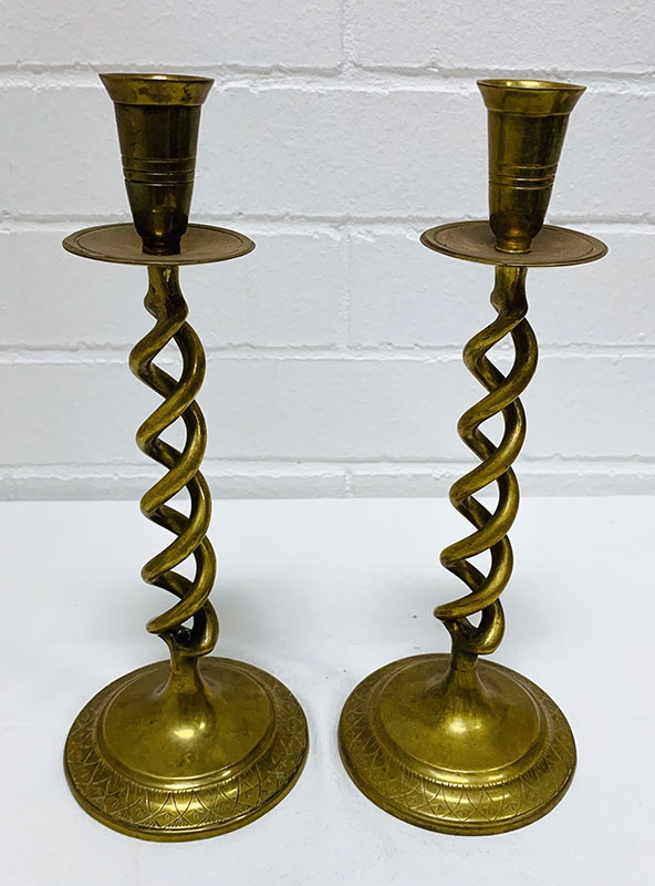 Brass Candlestick Holder pair. Other brassware pieces including kettles, vases, bowls, figurines, lamps and boxes from English, Australian, Indian, Chinese sources