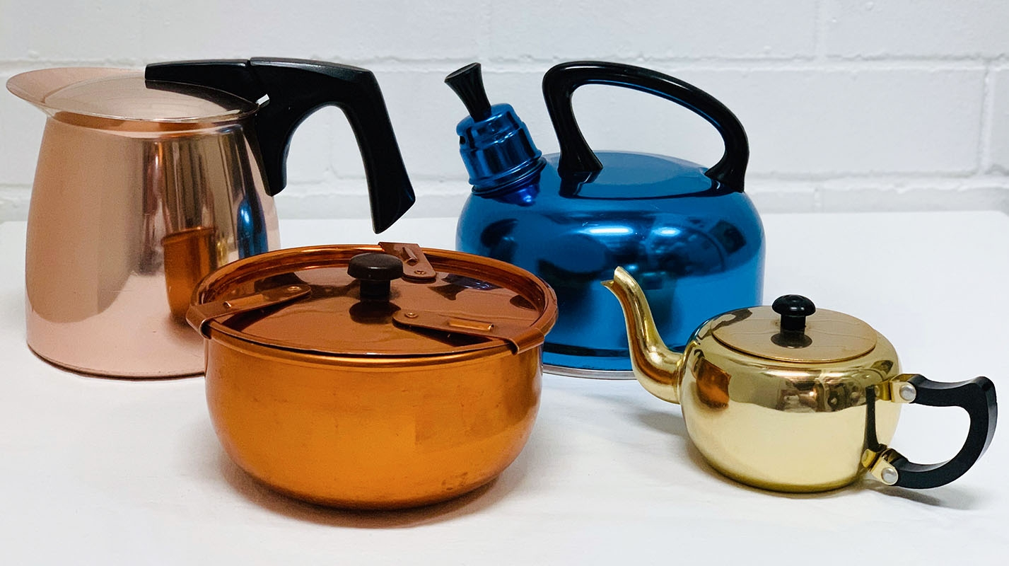 Anodised Teapots, bowls and jugs. Manufacturers including Raeco, Colorware, Kartell, Model Maid. Canister sets, bakelite, aluminium, sugar bowls, teapots, stacking travel cups, kitchenware, pudding bowl, kettle, soda syphon, ice buckets and fondue sets