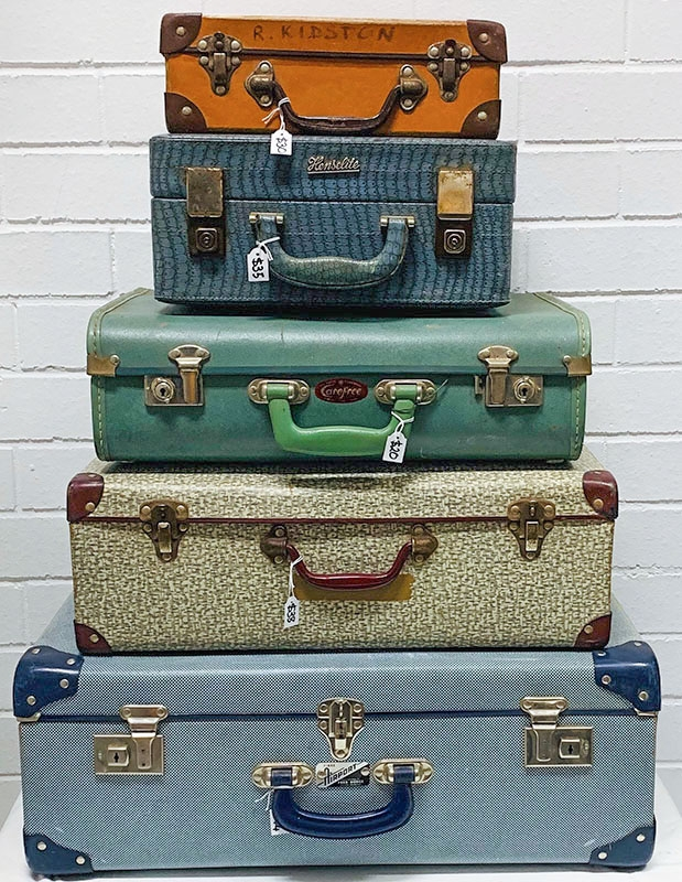 Suitcases. Leather, cardboard, school cases, travelling cases from Globite and Durolite. Hard shell, Gladstone bags, trunks, hat boxes, hat cases and makeup bags. Various keys available